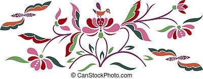 bird and flower emblem