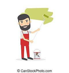 Man make repairs painting wall - Man make repairs in the...