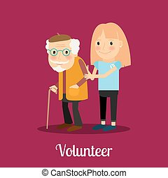 Volunteer girl caring for elderly man. Vector icon
