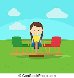 Girl on playground cartoon vector illustration - Girl...