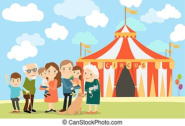 Big family near circus - Big family standing near circus....
