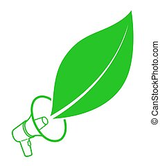 Ecology activist concept with megaphone and leaf -...