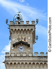 clock tower of the main building in main square - detail of...