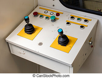 Old control panel, aviation bridge - Close up of an old...
