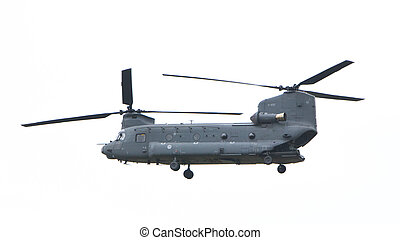 LEEUWARDEN, NETHERLANDS - JUNI 11 2016: Chinook CH-47 military helicopter in action during a demonstration flight on juni 11 , 2016 in Leeuwarden