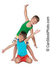 Two happy little boys