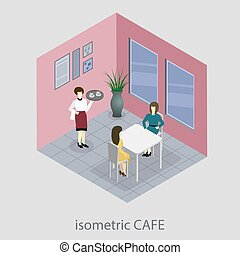 Isometric 3D cafe.