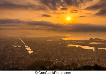Morning view at the Sete - sunrise ,France - Morning view at...