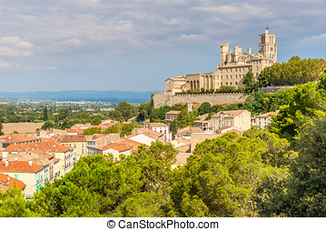 View at the Cathedrale of Saint Nazaire in Beziers - France...
