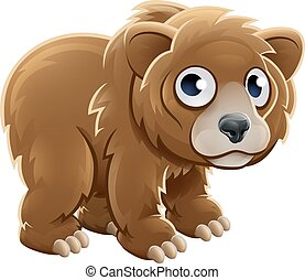 Cartoon Grizzly Bear Animal Character - A cute cartoon...