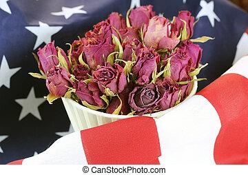 rosa, bandera, flor, nosotros