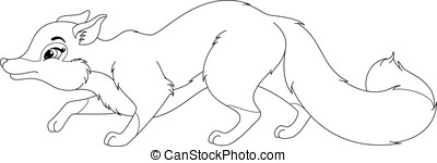 Fox Coloring Page - Image fox sneaks on white background