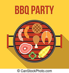 Vector barbecue party, flat design