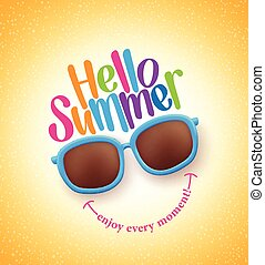 Summer Shades with Hello Summer Happy Colorful Concept in...