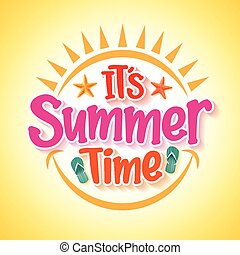 Summer Time Poster Design with Happy and Fun Concept with...