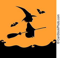 flying witch silhouette on orange - Vector Halloween...