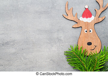Christmas decor with santa hat Vintages background