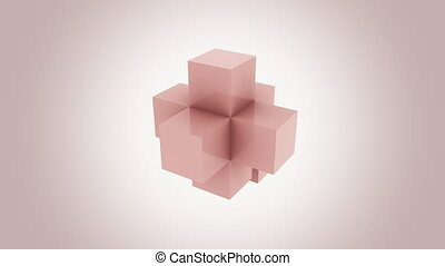Pink cubes assembling infinitely. Addition, growth and...