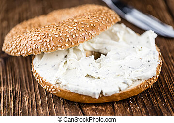 Sesame Bagel (with cream cheese) - Breakfast sesame Bagel...