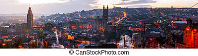 Aerial view of Cork, Ireland at sunset - Aerial view of St....