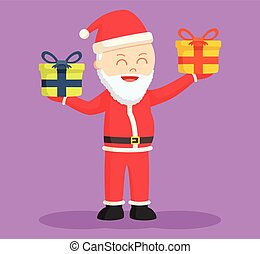 santa claus holding two gift box