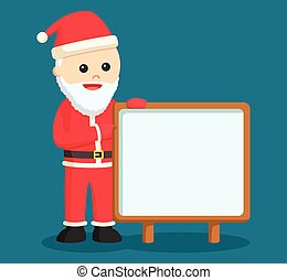 santa claus with empty board sign