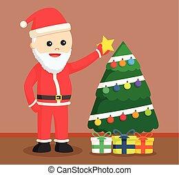 santa claus puting star on tree
