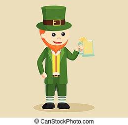leprechaun holding wine vector