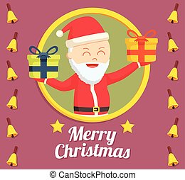 circle logo santa claus with red