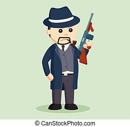 crime boss with holding a gun