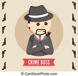 crime boss in circle logo