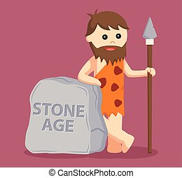 caveman with stone age sign