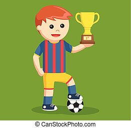 soccer ball player holding a trophy