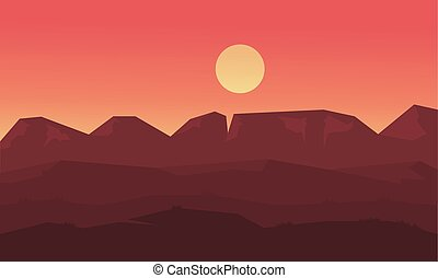 Landscape mounatin and hill at sunset of silhouette...