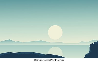 Landscape river with hill backgrounds