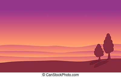 At sunrise desert landscape of silhouettes vector