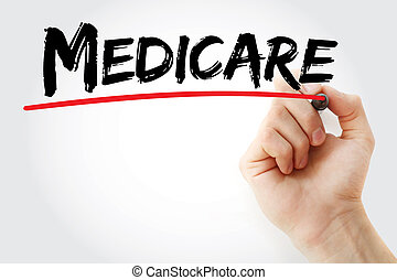 Hand writing Medicare with marker, concept background