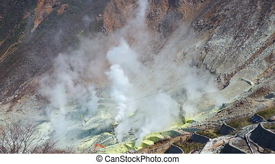 Close up of sulphur vents of Owakudani, Japan - Close up of...
