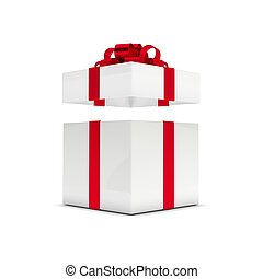 3d rendering of gift box with open lid isolated over white...