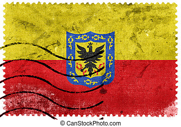 Flag of Bogota, Colombia, old postage stamp
