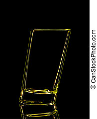 Silhouette of yellow glass for shot on black - Silhouette of...
