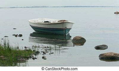 boat near the shore seascape - boat near the shore in the...
