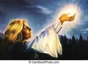 beautiful woman with hands holding light in nocturnal...