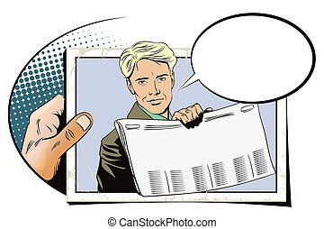 Presentation template. Man shows a newspaper. - Stock...