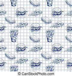 Hand drawn fast food pattern. Burger, pizza, french fries detailed illustrations. Great for school cafe menu or banner. Squared