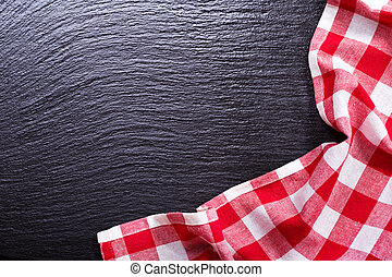 red tablecloth on dark desk - red tablecloth on dark...