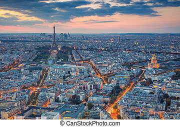 Paris. - Aerial view of Paris at sunset. View from...