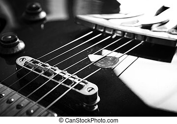 Acoustic guitar close up bw - Acoustic guitar close up in...