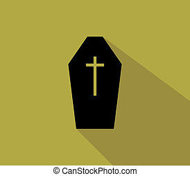 coffin for halloween in flat design