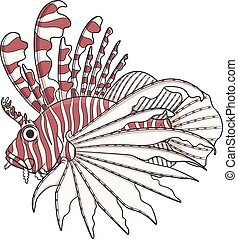 Color image lionfish. Vector objects on a white background.